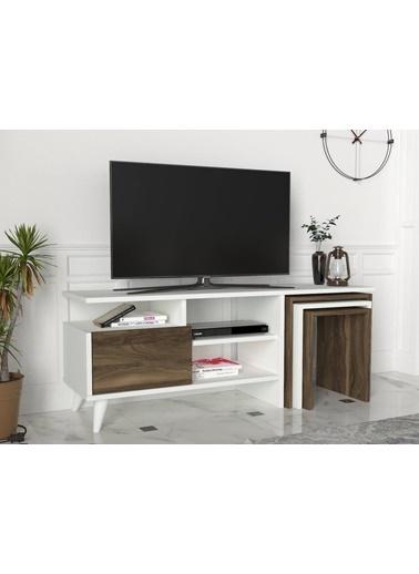 Dekorister Nature Tv Ünitesi Beyaz-Ceviz Renkli